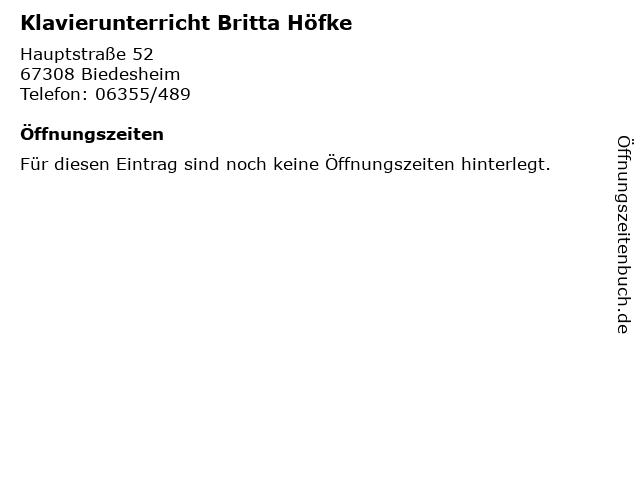 Klavierunterricht Britta Höfke in Biedesheim: Adresse und Öffnungszeiten