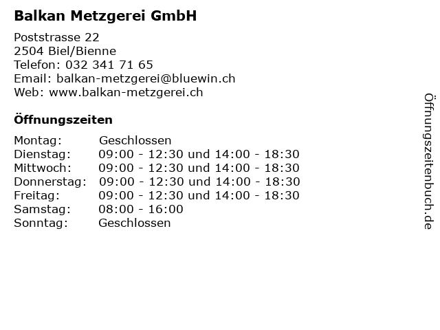METZGEREİ BALKAN in Biel/Bienne: Adresse und Öffnungszeiten