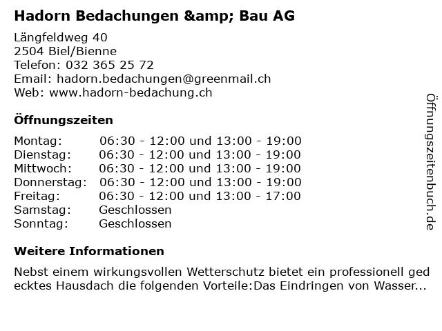 Hadorn Bedachungen & Bau AG in Biel/Bienne: Adresse und Öffnungszeiten
