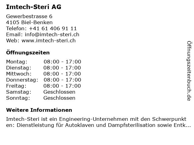 Imtech-Steri AG in Biel-Benken: Adresse und Öffnungszeiten
