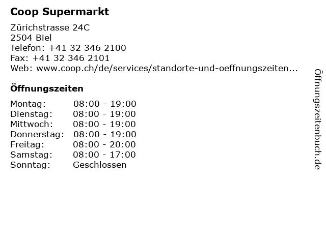 Coop Supermarkt in Biel: Adresse und Öffnungszeiten