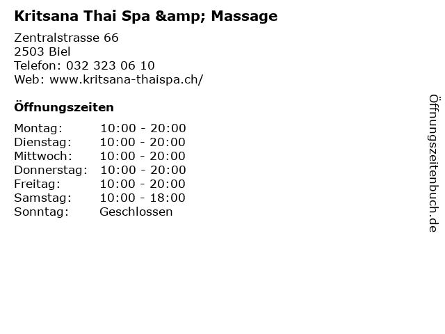 Kritsana Thai Spa & Massage in Biel: Adresse und Öffnungszeiten
