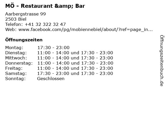 ᐅ öffnungszeiten Mö Restaurant Bar Aarbergstrasse 99 In Biel