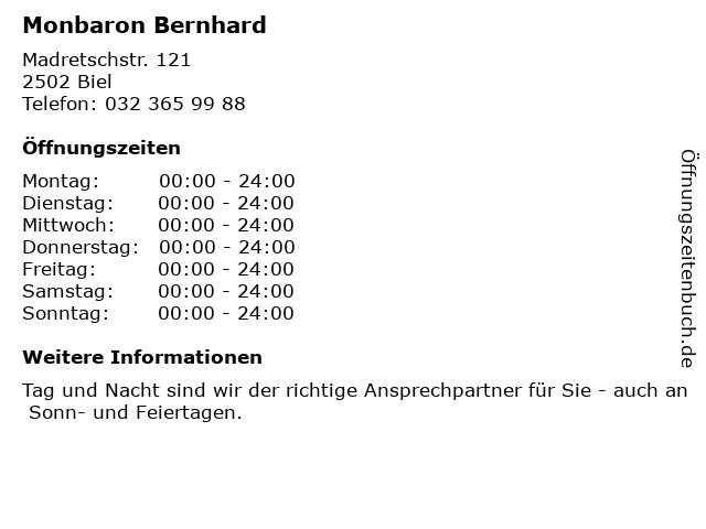 Monbaron Bernhard in Biel: Adresse und Öffnungszeiten