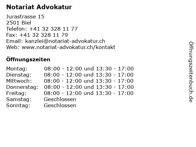 Notariat Advokatur in Biel: Adresse und Öffnungszeiten