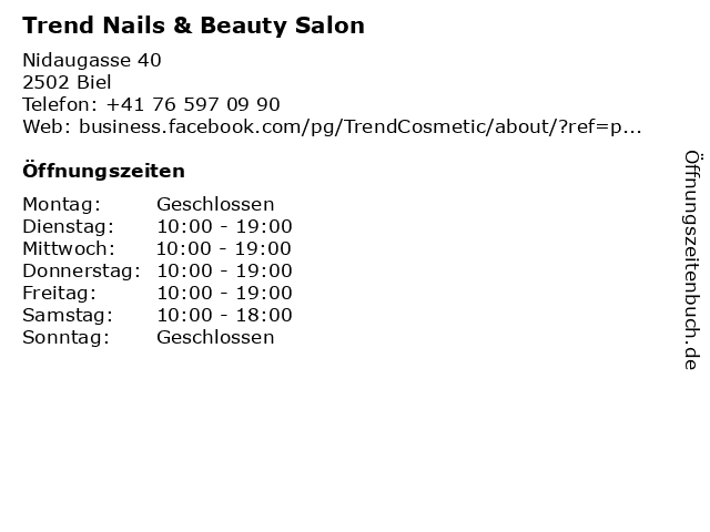 ᐅ öffnungszeiten Trend Nails Beauty Salon Nidaugasse 40 In Biel