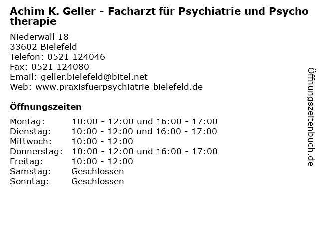 Achim K. Geller - Facharzt für Psychiatrie und Psychotherapie in Bielefeld: Adresse und Öffnungszeiten
