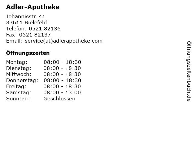 Adler-Apotheke in Bielefeld: Adresse und Öffnungszeiten