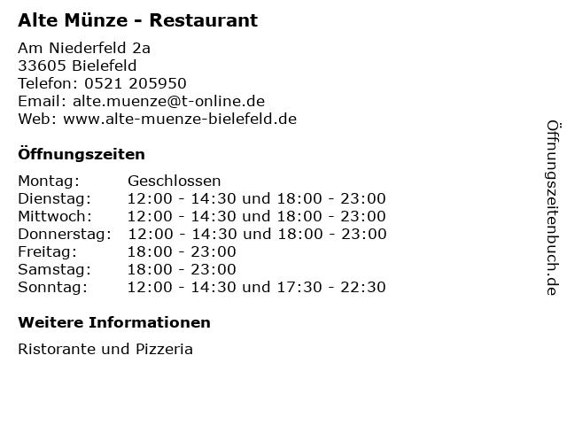 ᐅ öffnungszeiten Alte Münze Restaurant Am Niederfeld 2a In