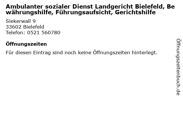 Ambulanter sozialer Dienst Landgericht Bielefeld, Bewährungshilfe, Führungsaufsicht, Gerichtshilfe in Bielefeld: Adresse und Öffnungszeiten