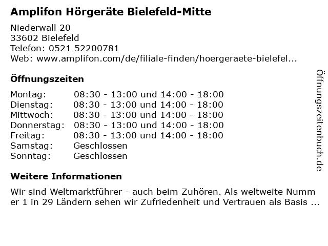 Amplifon Deutschland GmbH in Bielefeld: Adresse und Öffnungszeiten