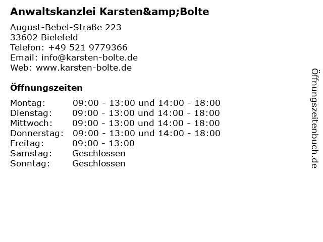 Anwaltskanzlei Karsten&Bolte in Bielefeld: Adresse und Öffnungszeiten