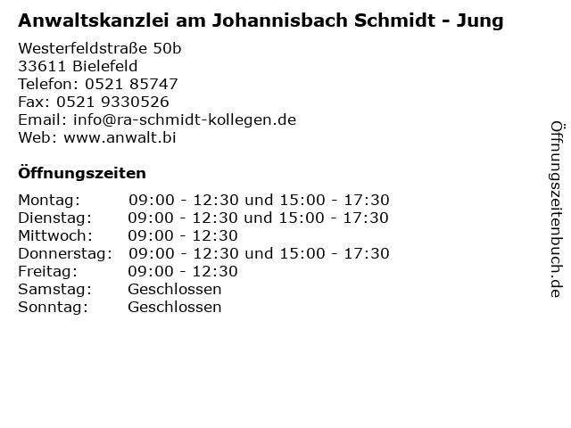 Anwaltskanzlei am Johannisbach Schmidt - Jung in Bielefeld: Adresse und Öffnungszeiten