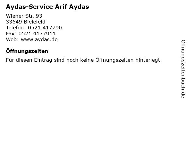 Aydas-Service Arif Aydas in Bielefeld: Adresse und Öffnungszeiten
