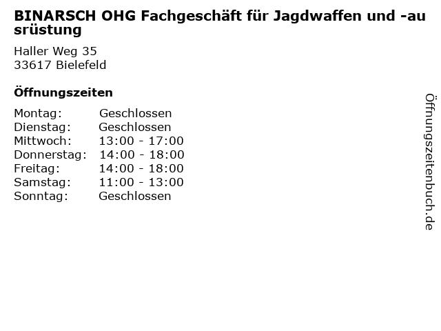 BINARSCH OHG Fachgeschäft für Jagdwaffen und -ausrüstung in Bielefeld: Adresse und Öffnungszeiten