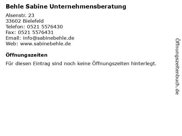 Behle Sabine Unternehmensberatung in Bielefeld: Adresse und Öffnungszeiten