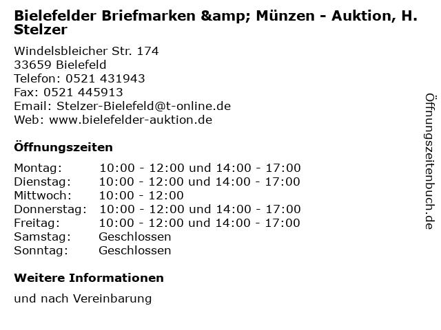 ᐅ öffnungszeiten Bielefelder Briefmarken Münzen Auktion H