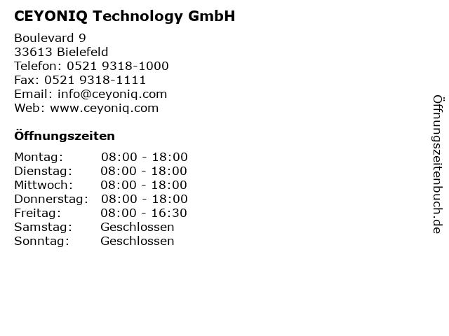 CEYONIQ Technology GmbH in Bielefeld: Adresse und Öffnungszeiten
