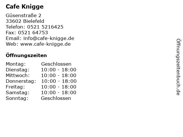Cafe Knigge in Bielefeld: Adresse und Öffnungszeiten