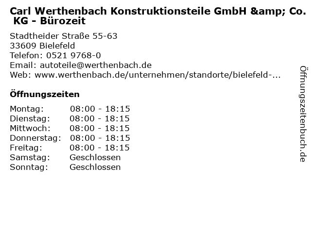 Carl Werthenbach Konstruktionsteile GmbH & Co. KG - Bürozeit in Bielefeld: Adresse und Öffnungszeiten