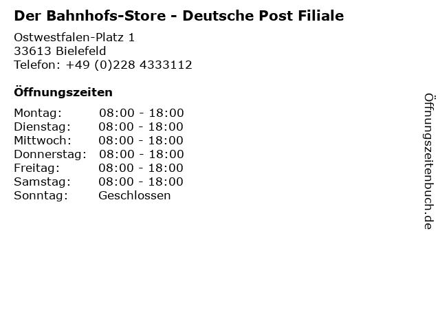 Der Bahnhofs-Store - Deutsche Post Filiale in Bielefeld: Adresse und Öffnungszeiten