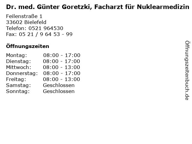 Dr. med. Günter Goretzki, Facharzt für Nuklearmedizin in Bielefeld: Adresse und Öffnungszeiten