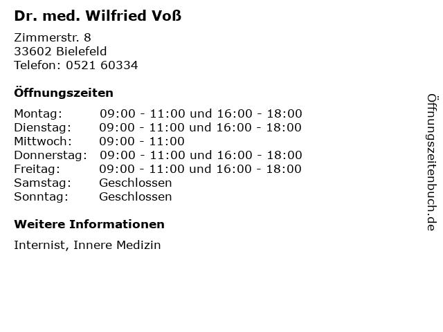 Dr. med. Wilfried Voß in Bielefeld: Adresse und Öffnungszeiten