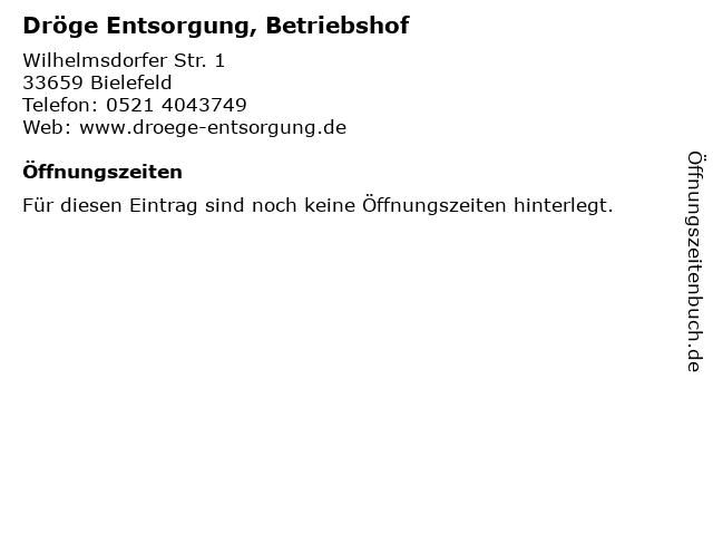 Dröge Entsorgung, Betriebshof in Bielefeld: Adresse und Öffnungszeiten