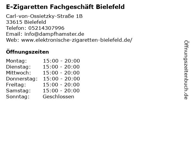 E-Zigaretten Fachgeschäft Bielefeld in Bielefeld: Adresse und Öffnungszeiten