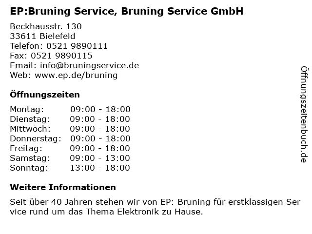 EP:Bruning Service in Bielefeld: Adresse und Öffnungszeiten