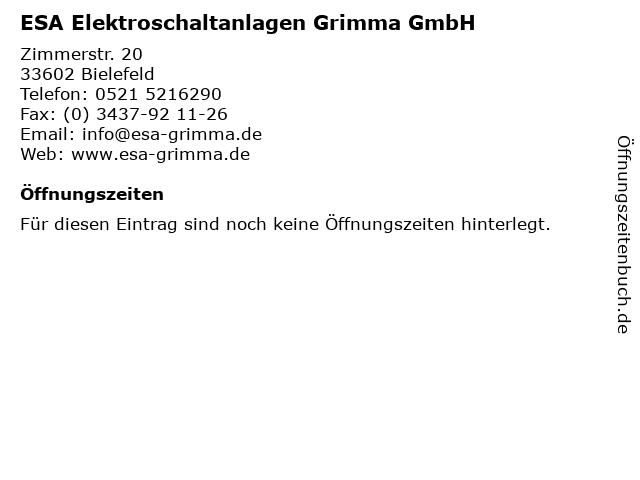 ESA Elektroschaltanlagen Grimma GmbH in Bielefeld: Adresse und Öffnungszeiten