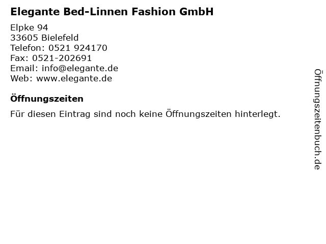ᐅ öffnungszeiten Elegante Bed Linnen Fashion Gmbh Elpke 94 In