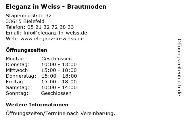 Eleganz in Weiss - Brautmoden in Bielefeld: Adresse und Öffnungszeiten