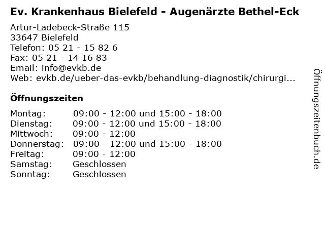 Ev. Krankenhaus Bielefeld - Augenärzte Bethel-Eck in Bielefeld: Adresse und Öffnungszeiten