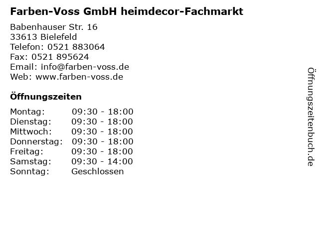 Farben-Voss GmbH Inh. Ewald Voss Tapeten in Bielefeld: Adresse und Öffnungszeiten
