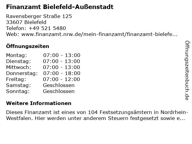 Finanzamt Bielefeld-Außenstadt (Allgemeine Öffnungszeiten) in Bielefeld: Adresse und Öffnungszeiten