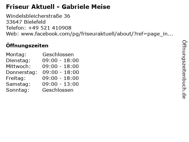 """ᐅ Öffnungszeiten """"friseur aktuell - gabriele meise"""