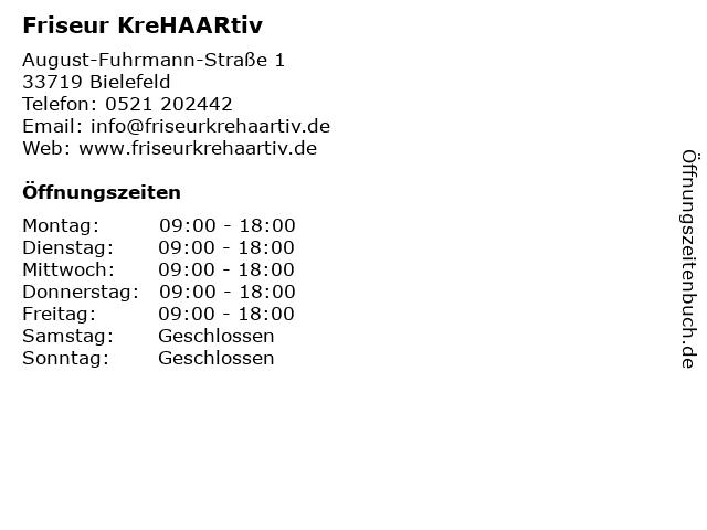 """ᐅ Öffnungszeiten """"friseur krehaartiv""""   august-fuhrmann-straße 1 in"""