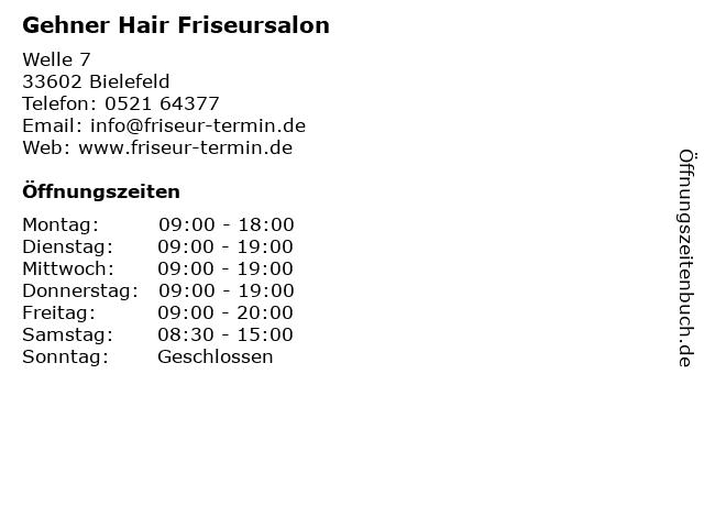 """ᐅ Öffnungszeiten """"gehner hair friseursalon""""   welle 7 in bielefeld"""