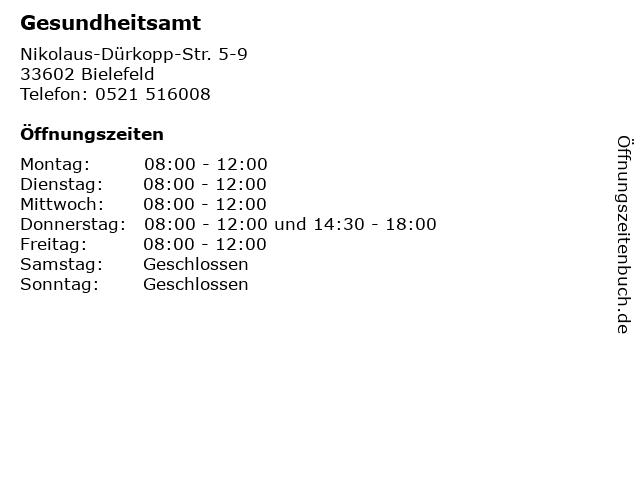 Gesundheitsamt in Bielefeld: Adresse und Öffnungszeiten