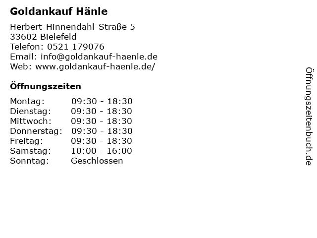 Goldankauf Hänle in Bielefeld: Adresse und Öffnungszeiten