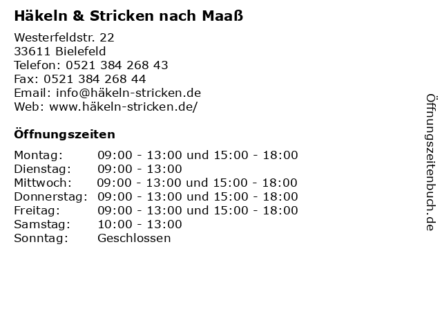 ᐅ öffnungszeiten Häkeln Stricken Nach Maaß Westerfeldstr 22