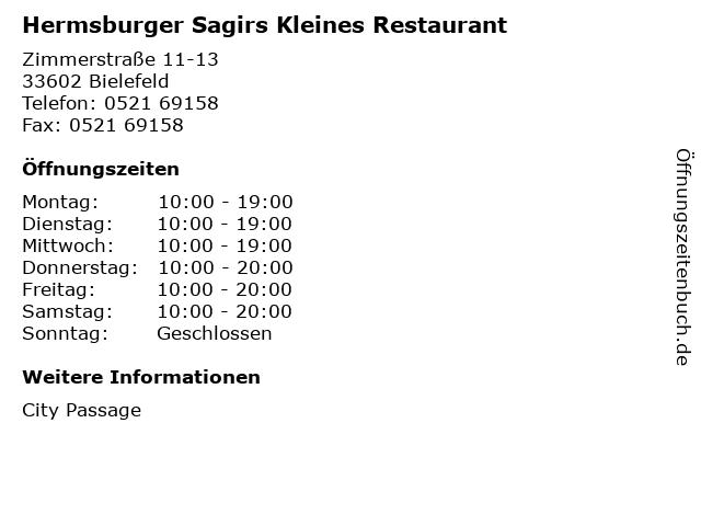 Hermsburger Sagirs Kleines Restaurant in Bielefeld: Adresse und Öffnungszeiten