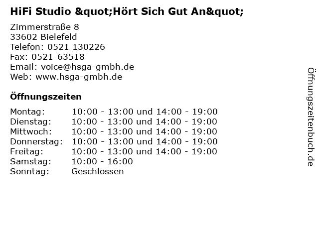"""HiFi Studio """"Hört Sich Gut An"""" in Bielefeld: Adresse und Öffnungszeiten"""