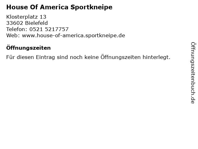 House Of America Sportkneipe in Bielefeld: Adresse und Öffnungszeiten