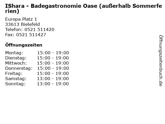 IShara - Badegastronomie Oase (außerhalb Sommerferien) in Bielefeld: Adresse und Öffnungszeiten