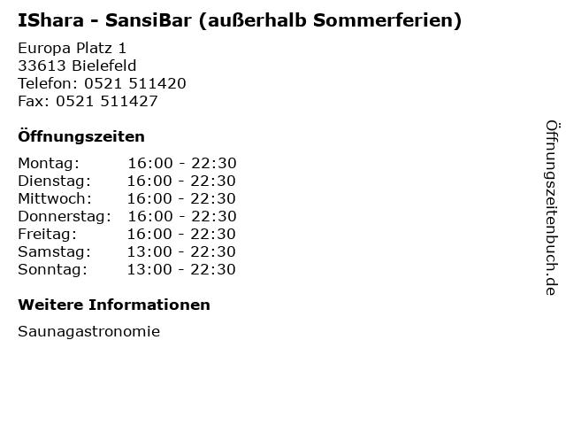 IShara - SansiBar (außerhalb Sommerferien) in Bielefeld: Adresse und Öffnungszeiten