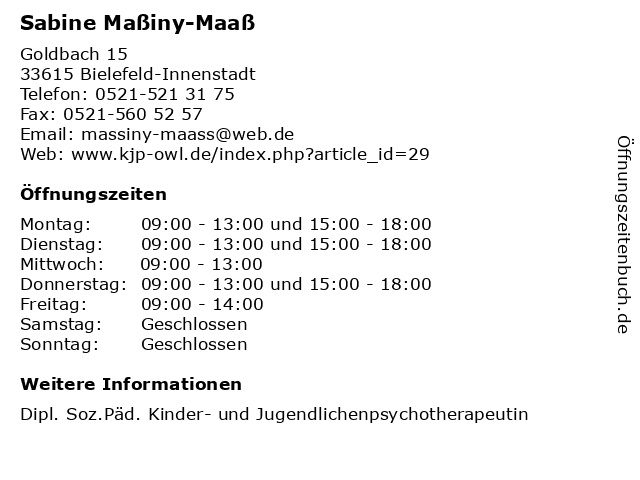 Sabine Maßiny-Maaß in Bielefeld-Innenstadt: Adresse und Öffnungszeiten