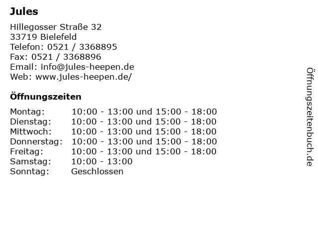 Jules in Bielefeld: Adresse und Öffnungszeiten