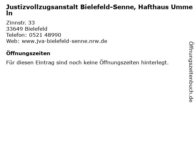 Justizvollzugsanstalt Bielefeld-Senne, Hafthaus Ummeln in Bielefeld: Adresse und Öffnungszeiten
